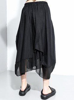 Elastic Waisted Asymmetric Ruched Long Skirt