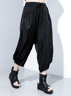 Black Elastic Waisted Cropped Harem Pants