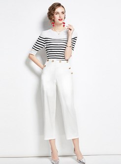 Half Sleeve Striped High Waisted Pant Suits
