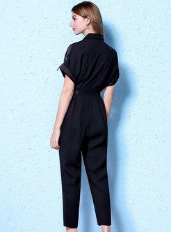 Lapel High Waisted Chiffon Slim Jumpsuits