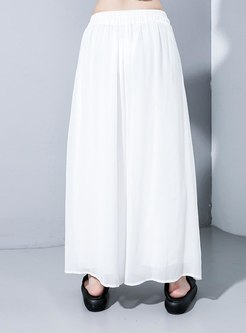 Elastic Waist Plus Size Wide Leg Pants