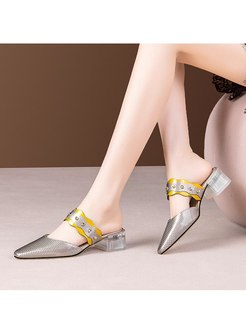 Color-blocked Chunky Heel Openwork Slippers