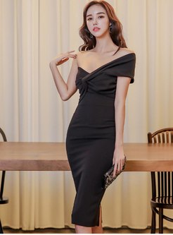 Off Shoulder Sexy Bodycon Knee-length Dress