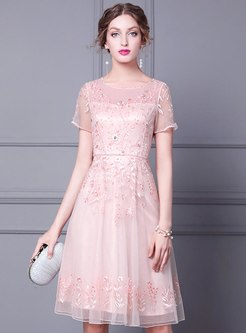 Transparent Mesh Embroidered Beaded Cocktail Dress