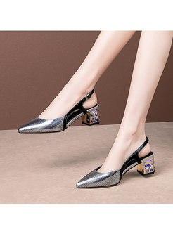 Pointed Toe Rhinestone Chunky Heel Sandals