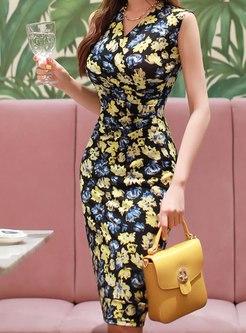 V-neck Sleeveless Floral Bodycon Dress