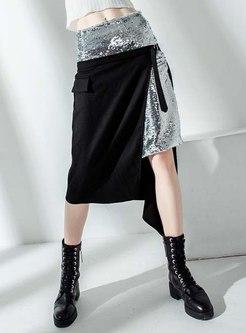 High Waisted Patchwork Asymmetric Straight Skirt