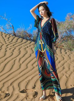Bohemian Deep V-neck Print Maxi Beach Dress