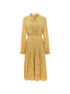 Mock Neck Long Sleeve Print Knee-length Dress