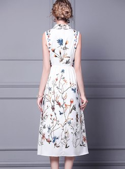 White Lapel Sleeveless Print A Line Midi Dress