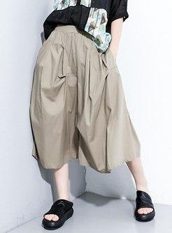 Elastic Waist A Line Midi Skirt
