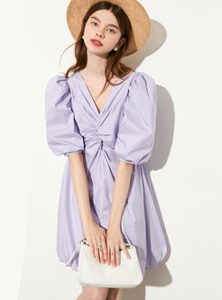 V-neck Puff Sleeve Ruched Mini Skater Dress