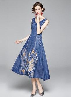 V-neck Embroidered Big Hem Denim Maxi Dress