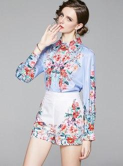 Lapel Print Slim Shirt & High Waisted Shorts