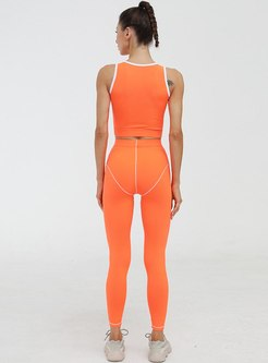 Color-blocked High Waisted Tight Yoga Tracksuit