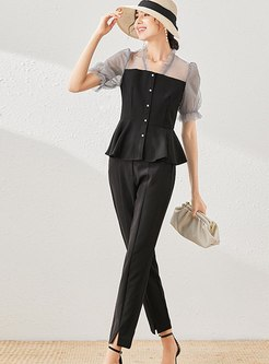 Mesh Patchwork Slim Ruffle Pant Suits