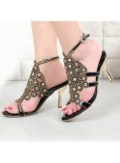 Pointed Toe Rhinestones Ankle Strap Sandals