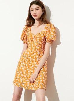 Puff Sleeve Floral Short Skater Dress