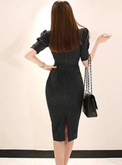 V-neck Half Sleeve Striped Sheath Dress