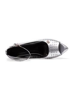 Peep Toe Openwork Ankle Strap Chunky Heel Sandals