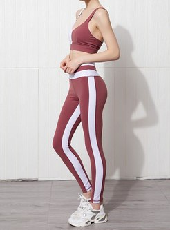Color Block Backless Sports Bra & Tight Yoga Pants