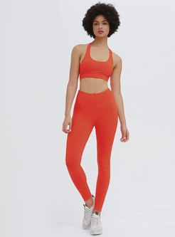 Halter Neck Backless Tight Sports Tracksuit