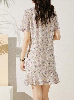 Short Sleeve Print Embroidered Mini Skater Dress
