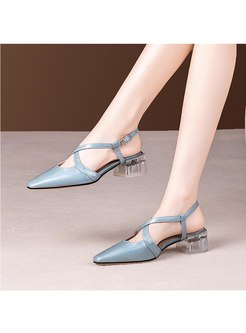 Patent Leather Transparent Chunky Heel Sandals