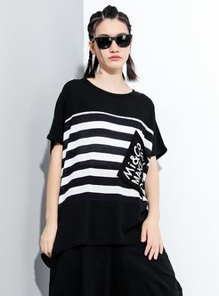 Plus Size Pullover Striped T-shirt