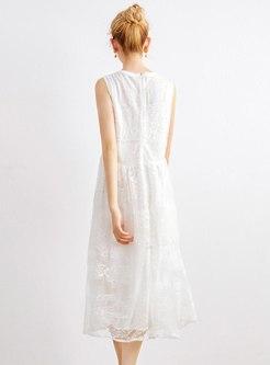Crew Neck Sleeveless Lace Patchwork Midi Dress