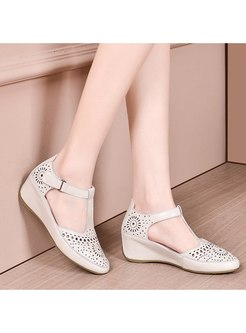 Rounded Toe Openwork Wedge Summer Sandals