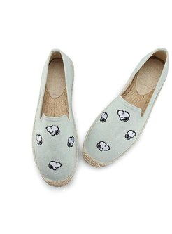 Rounded Toe Animal Embroidered Espadrilles