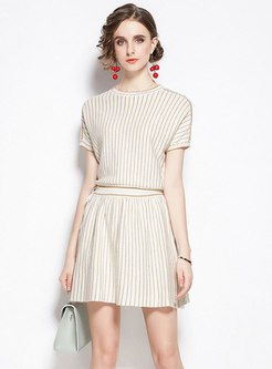 Crew Neck Striped High Waisted Sweater Dress
