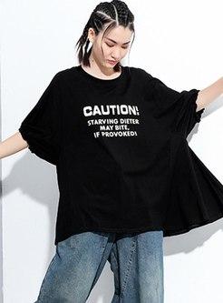 Plus Size Letter Print Loose T-shirt