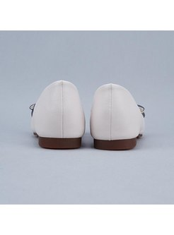 Pointed Toe Color-blocked Bowknot Flats