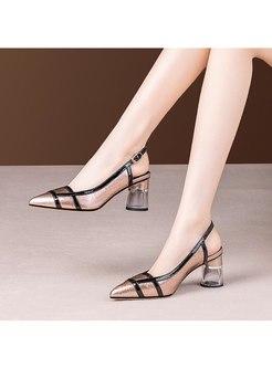 Color-blocked Chunky Heel Openwork Shoes