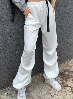 Elastic High Waisted Drawstring Pants