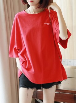 Letter Print Loose Pullover Cotton T-shirt