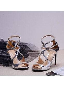 Peep Toe High Heel Ankle Buckle Sandals