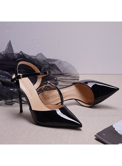 Pointed Toe Patent Leather High Heel Sandals