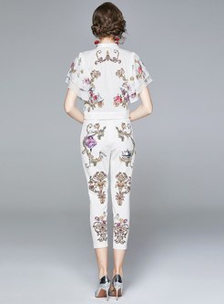 Print Ruffle Sleeve Cropped Pant Suits