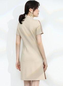 Mock Neck Striped Patchwork Zip-front Dress