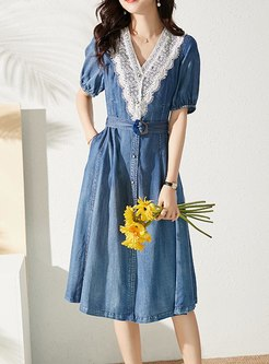 Puff Sleeve Belted Lace Patchwork Denim Dress