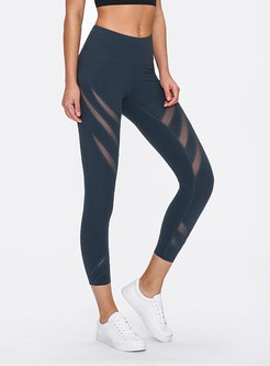 Mesh Patchwork Tight Yoga Cropped Pants