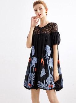 Openwork Embroidered Mini Shift Dress