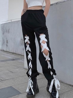 High Waisted Openwork Drawstring Pants
