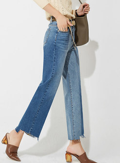 Color-blocked Asymmetric Straight Jeans