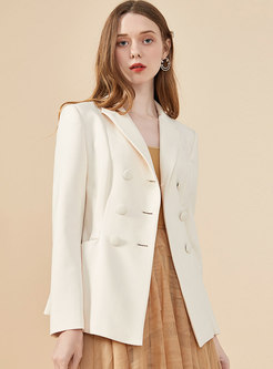 Notched Double-breasted Slim Office Blazer
