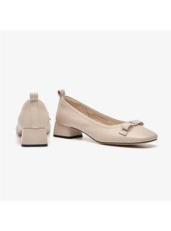 Square Toe Bowknot Chunky Heel Shoes