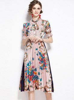 Mock Neck Satin Print Pleated Midi Dress